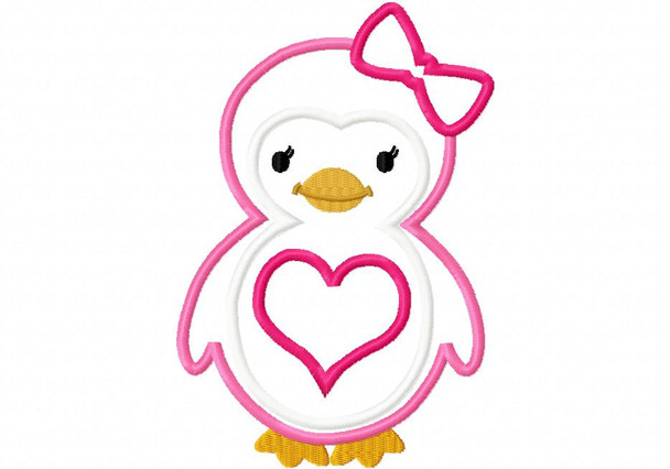 Heart Penguin Applique Digital Machine Embroidery Design 4X4, 5X7 and 6X10