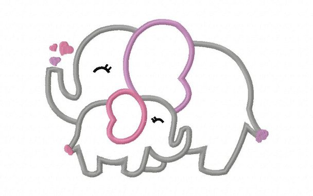Momma And Baby Elephant Applique Digital Machine Embroidery Design