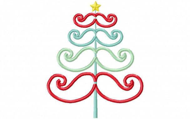 Modern Christmas Mustache Tree Applique 4X4, 5X7 and 6X10 Digital Machine Embroidery Design