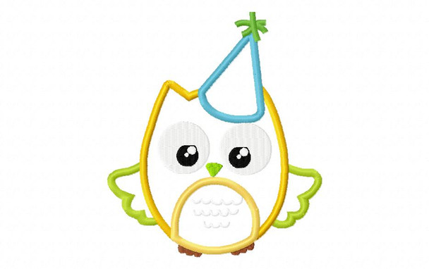 Birthday Party Owl Applique Digital Embroidery Machine Design 4X4, 5X7 and 6X10