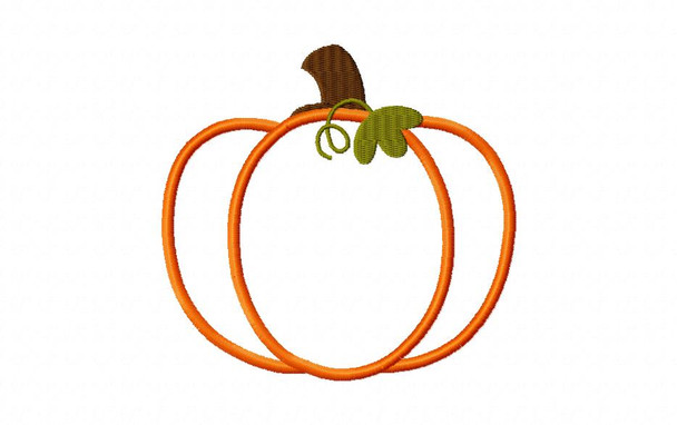 Pumpkin Applique Digital Machine Embroidery Design 4X4, 5X7 and 6X10