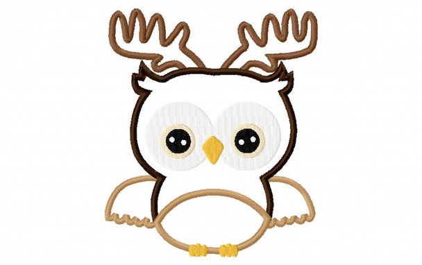 Christmas Reindeer Owl Applique Digital Machine Embroidery Design 4X4, 5X7 and 6X10