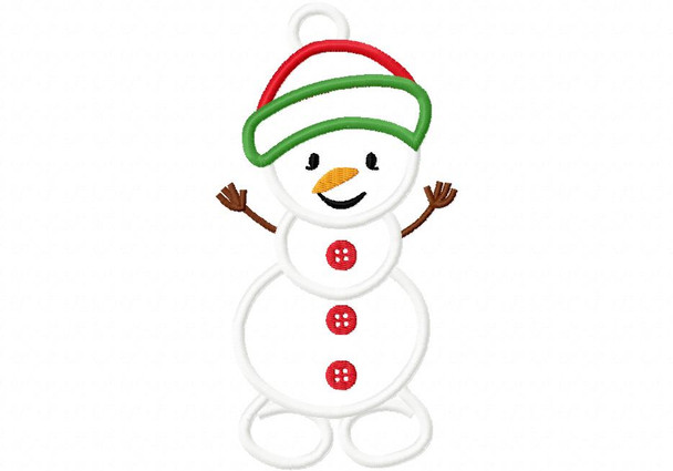 Snowman Applique 4X4, 5X7 and 6X10 Digital Machine Embroidery Design