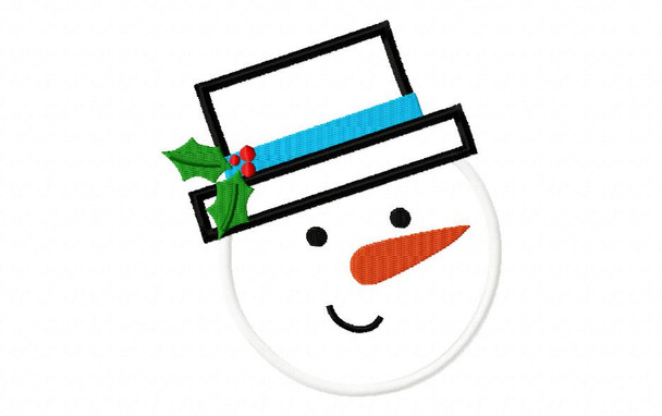 Snowman Face Applique 4X4, 5X7 and 6X10 Digital Machine Embroidery Design