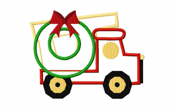 Christmas Wreath Truck Applique Digital Machine Embroidery Design 4X4, 5X7 & 6X10