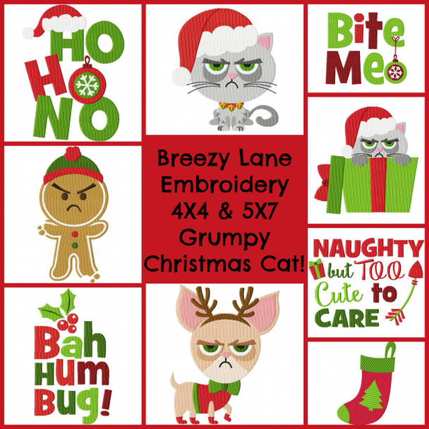 Grumpy Christmas Cat 4X4 & 5X7 Set