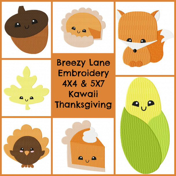Kawaii Thanksgiving 4X4 & 5X7 Machine Embroidery Design Set