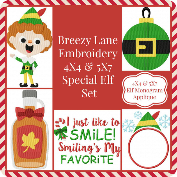 Special Elf 4X4 & 5X7 Machine Embroidery Design Set