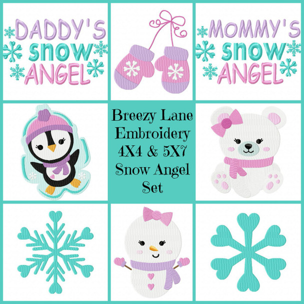 Snow Angel 4X4 & 5X7 Digital Machine Embroidery Design Set