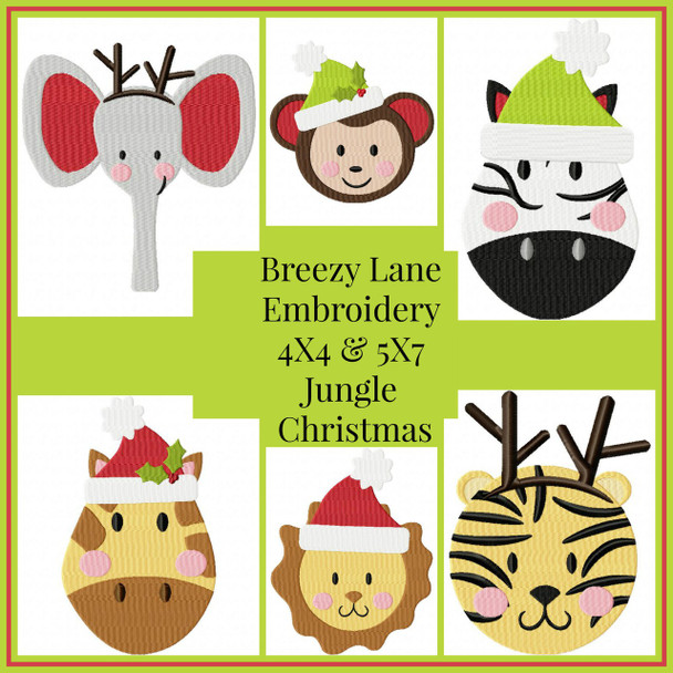Jungle Animal Christmas 4X4 & 5X7 Machine Embroidery Design Set