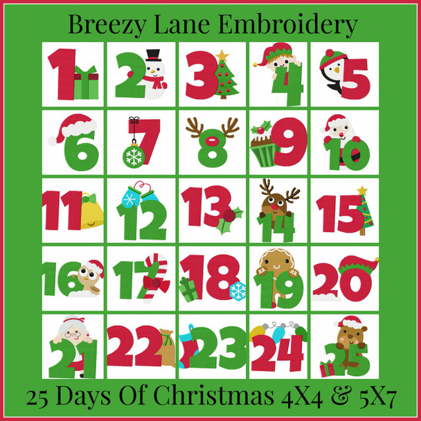 25 Days of Christmas 4X4 & 5X7 Digital Machine Embroidery Design Set