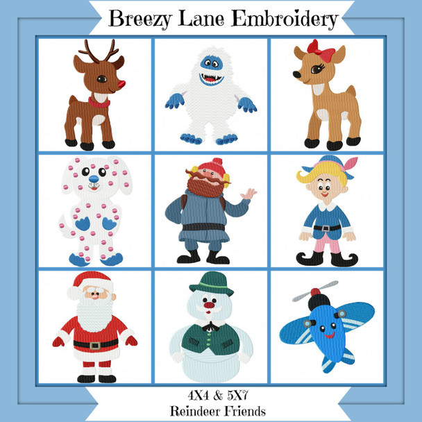 Reindeer Friends Christmas Embroidery Design Set 4X4 & 5X7