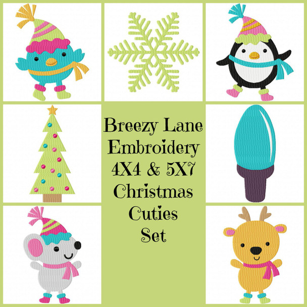 Christmas Cuties 4X4 and 5X7 Machine Embroidery Design Set