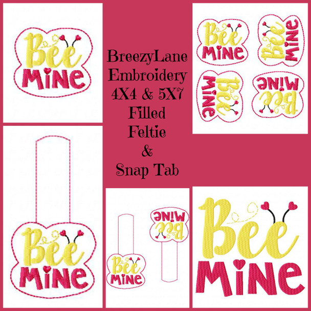 Bee Mine Filled, Feltie and Snap Tab Machine Embroidery Design Set