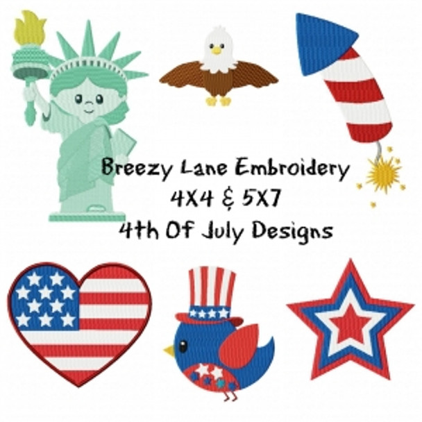 4th Of July Machine Embroidery Design Set