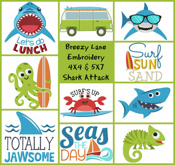 SHARK ATTACK MACHINE EMBROIDERY DESIGN SET