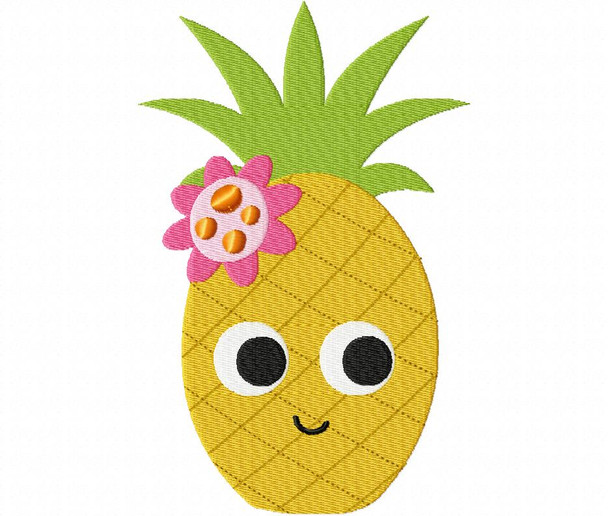 Happy Pineapple Filled Machine Embroidery Design 4X4 & 5X7
