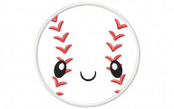 Kawaii Baseball Applique Machine Embroidery Design 4X4, 5X7 & 6X10