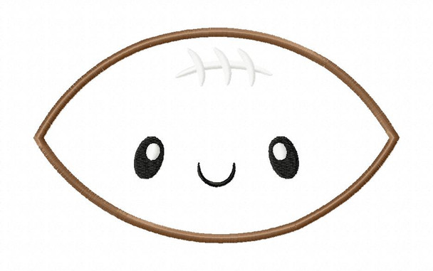 Kawaii Football Applique Machine Embroidery Design 4X4, 5X7 & 6X10