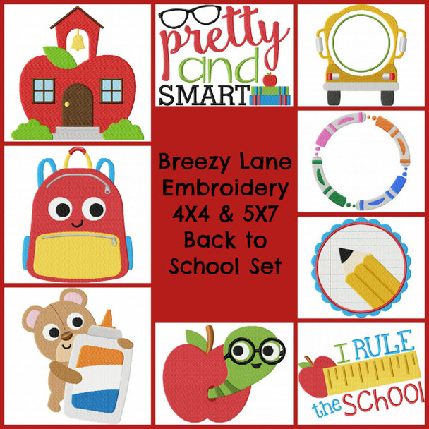 Back to School 4X4 & 5X7 Machine Embroidery Designs