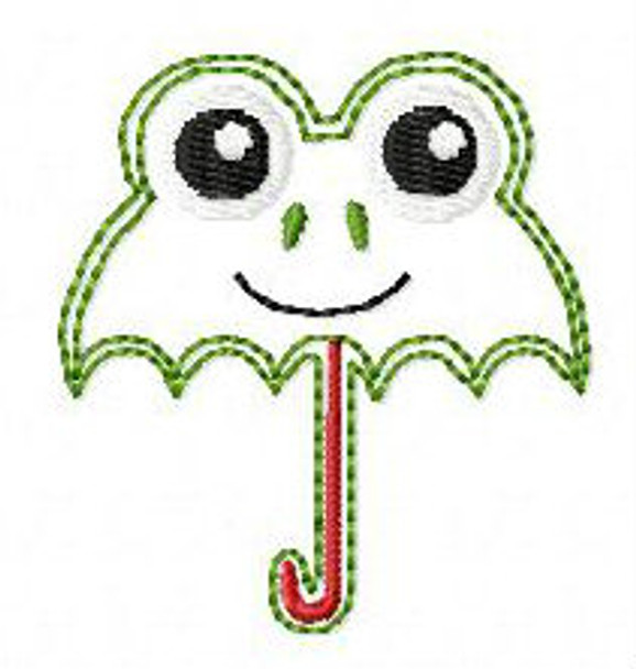 "Feltie Frog Umbrella 2""X2"" and 3""x3"" Machine Embroidery Design"