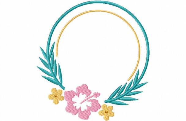 Tropical Flowers Monogram Frame 4X4 & 5X7 Machine Embroidery Design