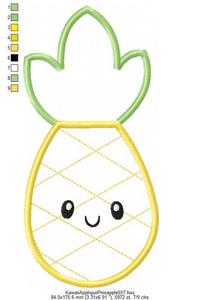 Applique Kawaii Pineapple 5X7 & 6X10