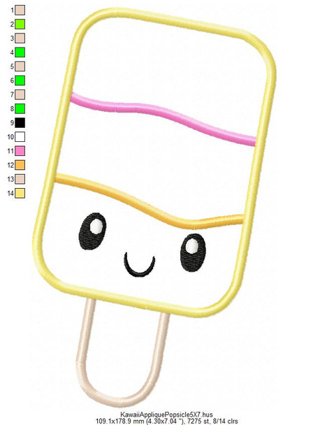 Applique Kawaii Popsicle 5X7 & 6X10 Machine Embroidery Design