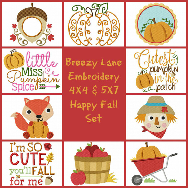 Happy Fall 4X4 & 5X7 Machine Embroidery Design Set