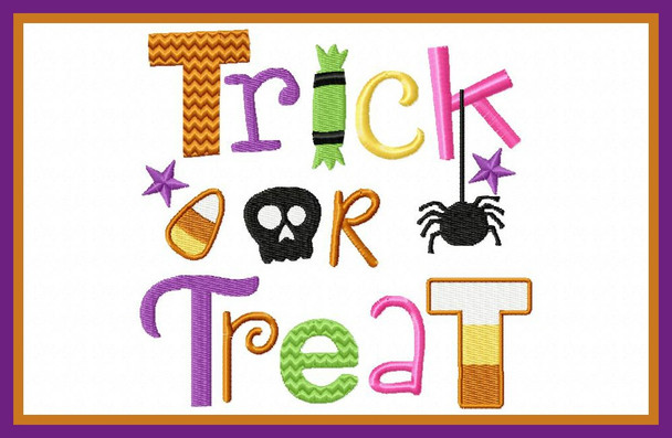 Trick Or Treat Halloween Word Art Machine Embroidery Design 4X4, 5X7 & 6X10