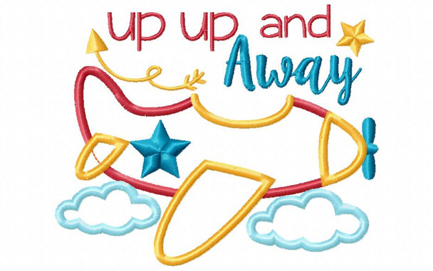 Airplane Up Up And Away Boys Applique Machine Embroidery Design 4X4, 5X7 & 6X10