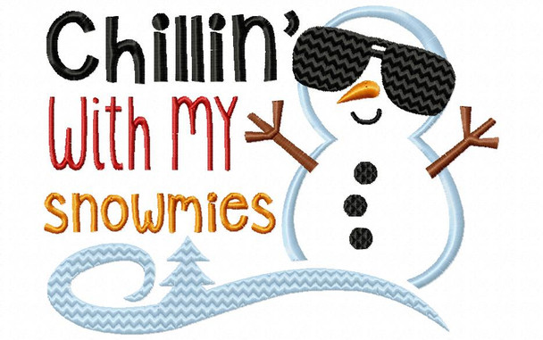 Chillin With My Snowmies Christmas and Winter Boys Machine Embroidery Design 4X4, 5X7 & 6X10