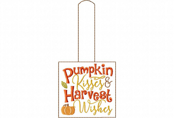 Pumpkin Kisses Fall and Thanksgiving Snap Tab In the Hoop Machine Embroidery Design 5X7