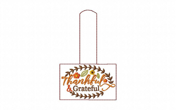 Thankful and Grateful FALL AND THANKSGIVING SNAP TAB IN THE HOOP MACHINE EMBROIDERY DESIGN 5X7