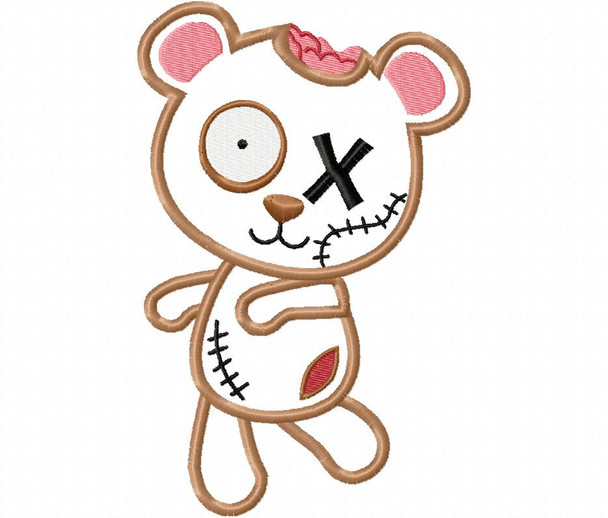 Zombie Bear Halloween Applique Machine Embroidery Design 5X7 & 6X10