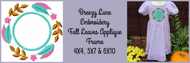 Fall Leaf Frame Applique Machine Embroidery Design 4X4, 5x7  & 6x10