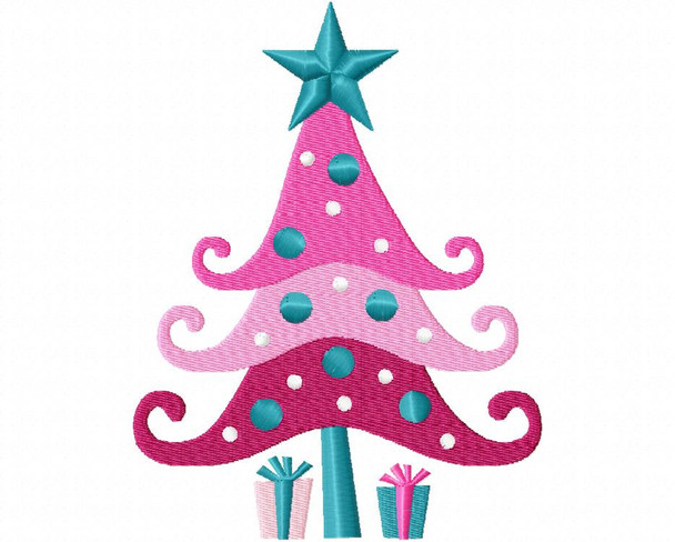 Pink Tree Filled Design 4X4 & 5X7 Christmas Free Machine Embroidery Design