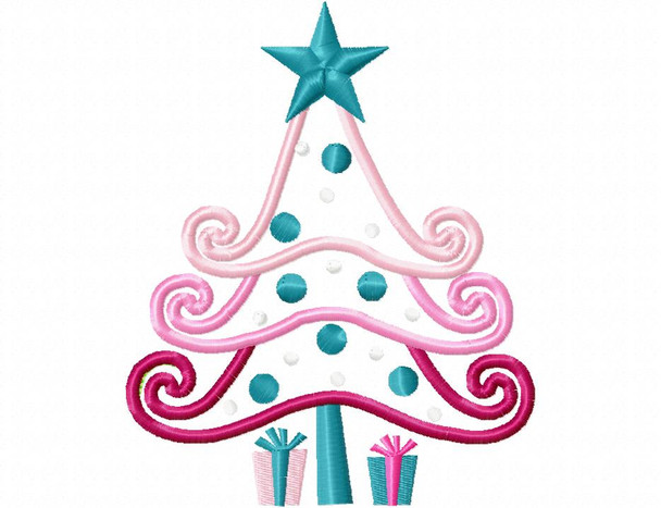 Pink Tree Applique Design 4X4, 5X7 & 6X10 Christmas Free Machine Embroidery Design