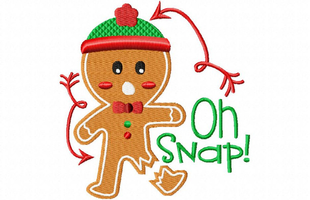 Oh Snap Christmas Funny Gingerbread Man Machine Embroidery Design 4X4, 5X7 & 6X10