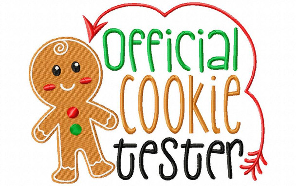Official Cookie Tester CHRISTMAS FUNNY GINGERBREAD MAN MACHINE EMBROIDERY DESIGN 4X4, 5X7 & 6X10