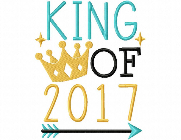 King OF 2017 NEW YEARS MACHINE EMBROIDERY DESIGN 4X4, 5X7 & 6X10