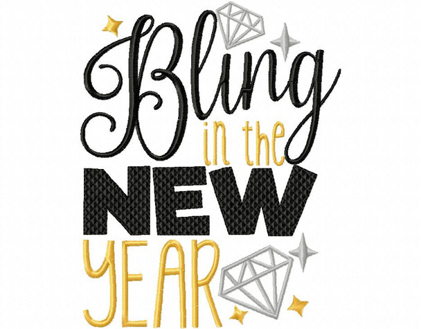 BLING IN THE NEW YEAR NEW YEARS MACHINE EMBROIDERY DESIGN 4X4, 5X7 & 6X10