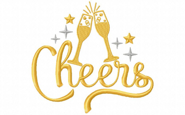 CHEERS NEW YEARS MACHINE EMBROIDERY DESIGN 4X4, 5X7 & 6X10