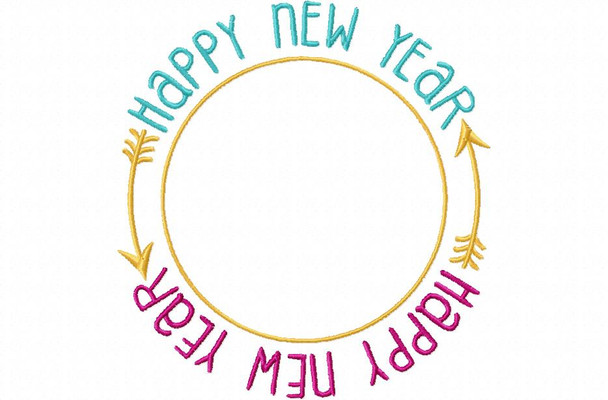 Happy New Year Frame NEW YEARS MACHINE EMBROIDERY DESIGN 4X4, 5X7 & 6X10
