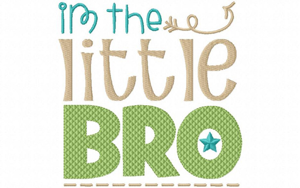 Little Bro Brother Machine Embroidery Design 4X4, 5X7 & 6X10