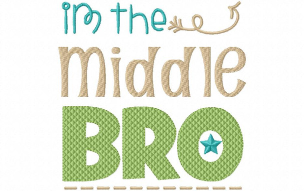 Middle Bro Brother Machine Embroidery Design 4X4, 5X7 & 6X10
