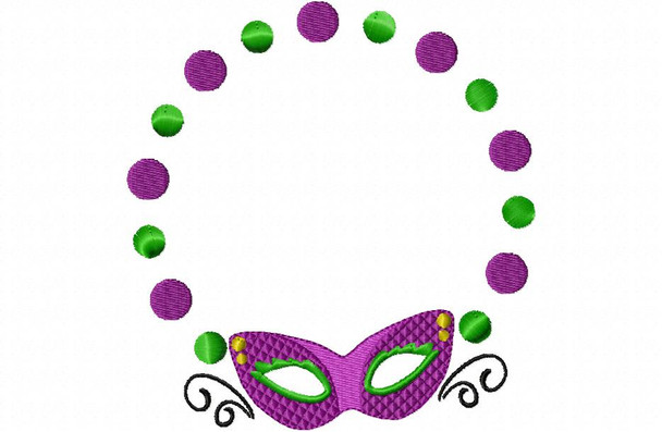 Mardi Gras Monogram Frame MACHINE EMBROIDERY DESIGN 4X4, 5X7 & 6X10