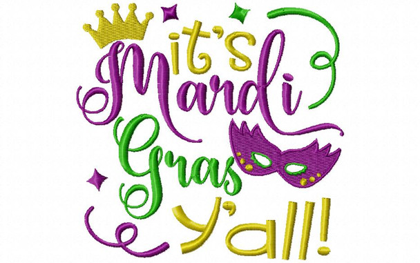Happy Mardi Gras Y'all Monogram Frame MACHINE EMBROIDERY DESIGN 4X4, 5X7 & 6X10