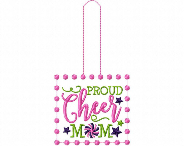 Proud Cheer Mom Cheerleading Snap Tab In The Hoop Machine Embroidery Design 5X7
