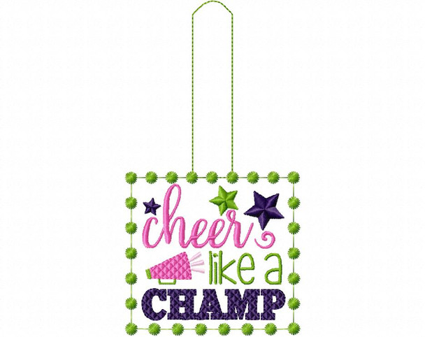 Cheer Like A Champ Cheerleading Snap Tab In The Hoop Machine Embroidery Design 5X7